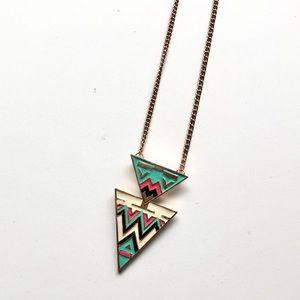Chevron Triangle Long Necklace